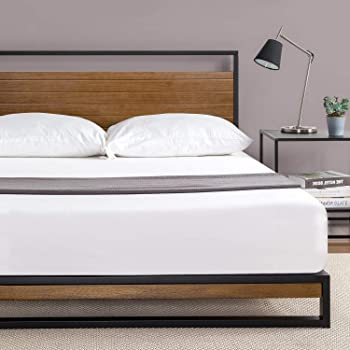 Zinus Suzanne Metal and Wood Platform Bed with Headboard / Box Spring Optional / Wood Slat Support, Queen