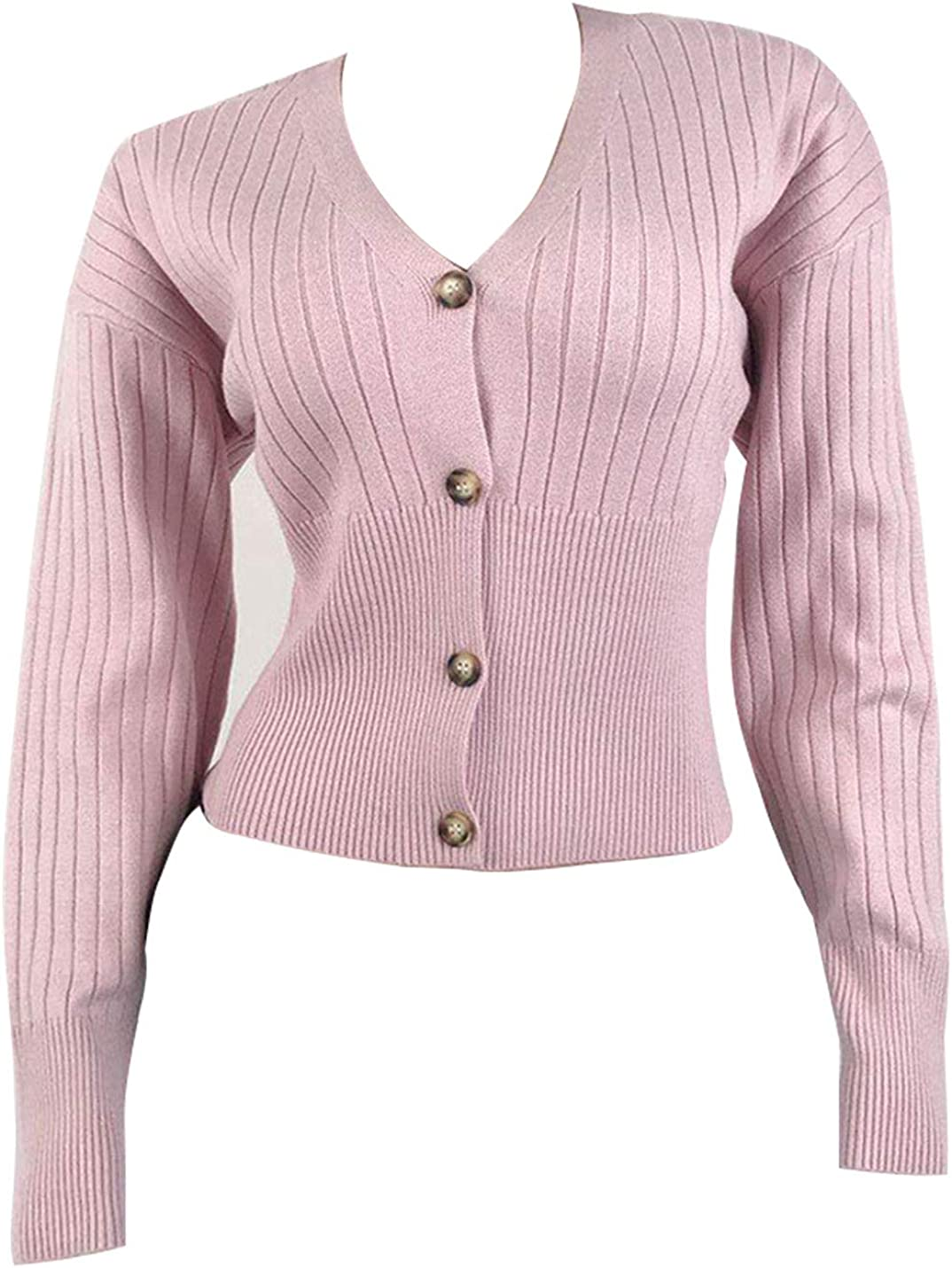 Uaneo Womens Ribbed Knit V-Neck Long Sleeve Button Down Solid Cardigan Sweaters(Pink-XS)