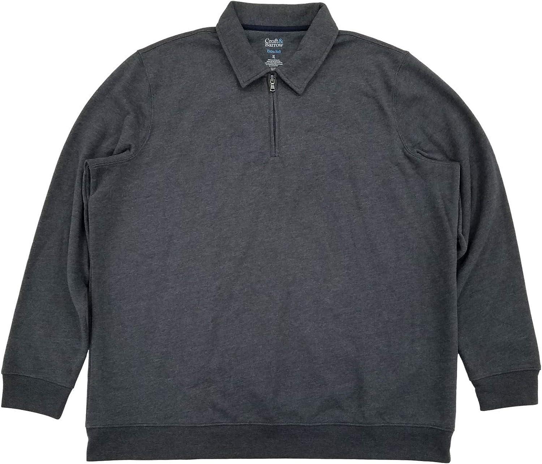 Mens Gray Fleece Quarter-Zip Polo Pullover Sweatshirt Jacket X-Large