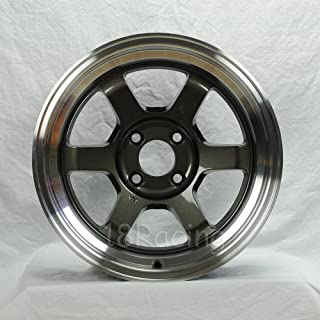 4 PCS ROTA GRID V 15X7 PCD:4X100 OFFSET:20 HB67.1 GUNMETAL WITH POLISH LIP