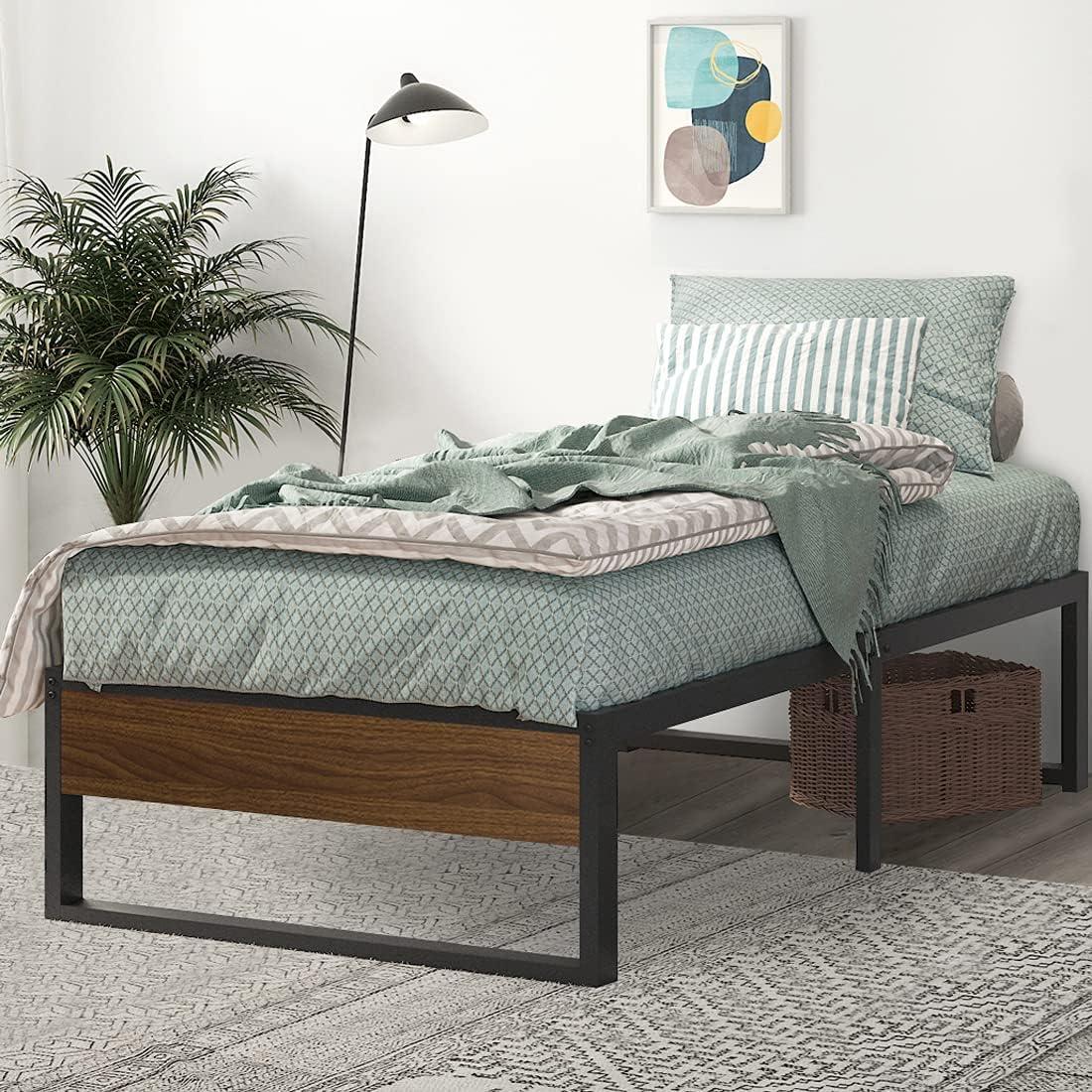 SHA CERLIN Twin Size Platform 14 Bed Metal Frame Popular product Cheap bargain Inch