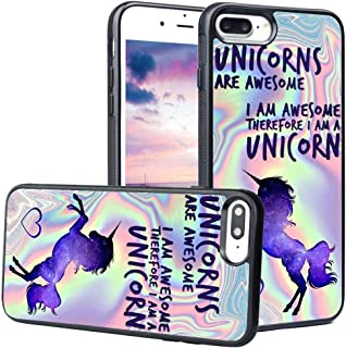 LEALIN iPhone 7 Plus Case,iPhone 8 Plus Case, Unicorn are Awesome Antiskid Handle Black TPU Phone Case for iPhone 7 Plus,8 Plus Cover