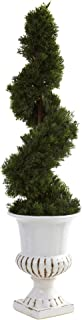 Nearly Natural 5932 Indoor/Outdoor Cedar Spiral with Urn, Green