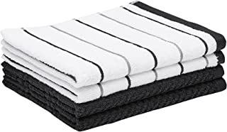 Amazon Basics 100% Cotton Kitchen Dish Towels, 26 x 16-Inch, Absorbent Durable Ringspun Cloth - 4-Pack, Black Stripe
