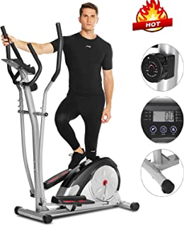 ANCHEER Elliptical Machine, Elliptical Trainer for Home Use with Pulse Rate Grips and LCD Monitor, Magnetic Smooth Quiet Driven