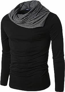PAUSE Men's Solid Cotton Long Sleeve Cowl Neck Regular-Fit T-Shirt (Black,PACT03181289-DGR)