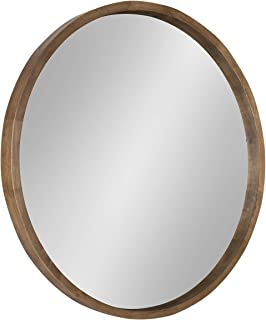 Kate and Laurel Hutton Round Decorative Wood Frame Wall Mirror, 30 Inch Diameter, Natural Rustic