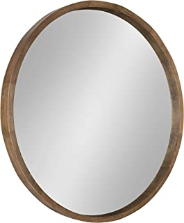 Kate and Laurel Hutton Round Wood Framed Accent Mirror, 30