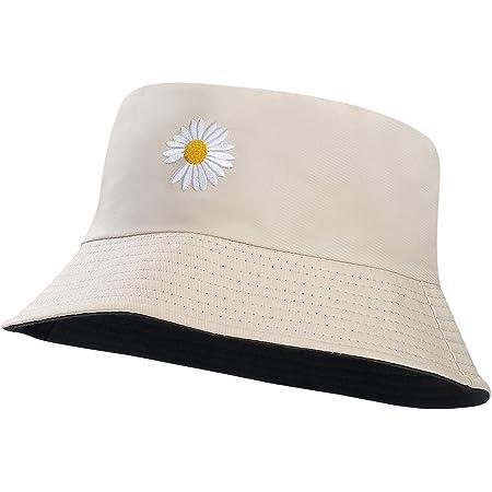 MaoXinTek Sombrero del Pescador Reversible Algodón Plegable Margaritas Bucket Hat Al Aire Libre Visera para Senderismo Camping y Playa 56-58 cm