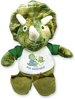 Flutter Hut I'm The Big Brother Green Triceratops Plush Dinosaur Message T-Shirt 8 Inches