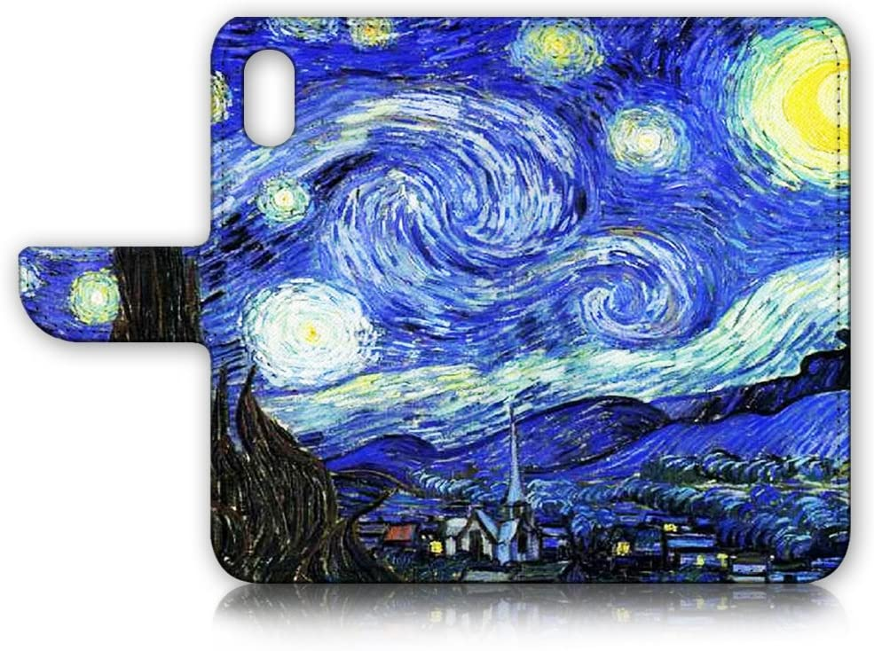 (for iPhone Xs/iPhone X) Flip Wallet Case Cover & Screen Protector Bundle! A0066 Starry Night Van Gogh