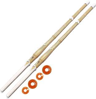 E-BOGU 【2本セット】上製剣道竹刀 完成品(38)※プラスチック鍔+鍔止ゴム付き