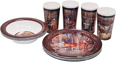 R&D Enterprises/Motorhead Products Deer 12 Piece Dinnerware Set, Brown/Green