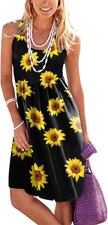 MASZONE Women's Casual Sleeveless Midi Dress Summer Beach Tank Dresses Elegant Floral Print Swing Short Dress Sundress