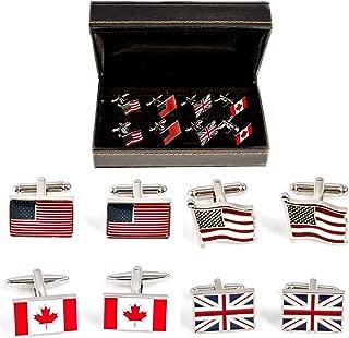MRCUFF Flags US Great Britain Canada USA British 4 Pairs Cufflinks in a Presentation Gift Box & Polishing Cloth