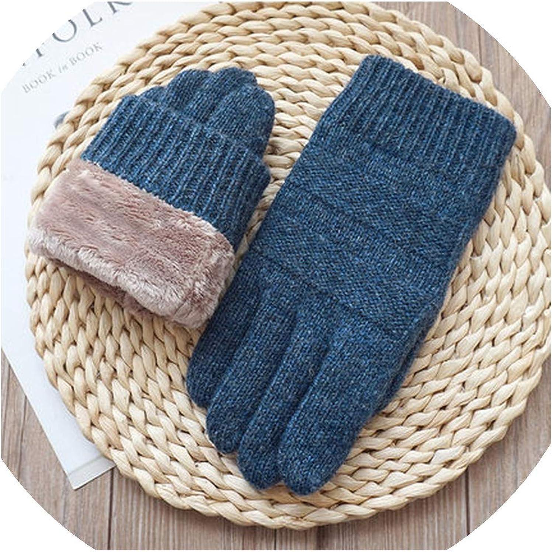 Mens Touch Screen Gloves Male Velvet Thick Wool Knitting Warm Gloves