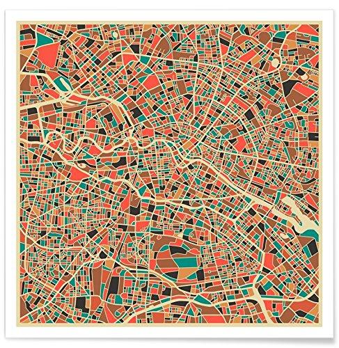 """JUNIQE® Stadtpläne Berlin Poster 20x20cm - Design """"Berlin"""" entworfen von Jazzberry Blue"""
