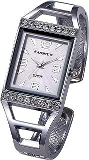 Top Plaza Womens Fashion Analog Quartz Bangle Cuff Bracelet Watch Rectangle Case Arabic Numerals Rhinestones Dress Jewelry Wrist Watches 6.5 Inches
