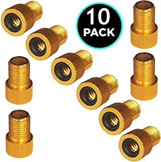 10Pack Aluminum Presta Valve Adapter - Convert Presta to Schrader - French/UK to US - Inflate Tire Using Standard Pump or Air Compressor