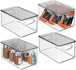 mDesign Plastic Stackable Kitchen Pantry Cabinet, Refrigerator, Freezer Food Storage Bin Box with Handles, Lid - Organizer for Fruit, Yogurt, Snacks, Pasta - 10