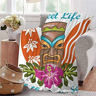 KFUTMD Digital Printing Blanket Sweet Life by The Salty Sea Text with Tiki Figure and Hibiscus Flower Art Print Multicolor Dorm Bed Baby Cot Traveling Picnic W59 xL71