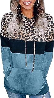 Womens Color Block Sweatshirts Long Sleeve Striped Drawstring Hoodies Pullover S-XXL