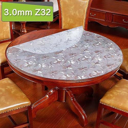 ZHOU Chrysantheme-Muster-Weißes Glasrundtisch-Wasserdichte und  reie Tischdecke