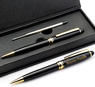 Free Engraving - Personalized Roller Ballpen, Ballpoint pen, Ball pen, Refillable Pens, Retractable Medium Refill Pen Black Ink, Custom Gifts for Men, Women, Classy Gift Box