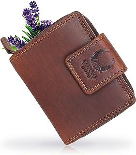 Corno d'Oro Cartera pequeña con monedero de cuero para mujer 5026 con cremallera y protección RFID, billetera vintage marrón