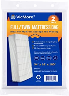 VICMORE 2 Pack Full/Twin Mattress Storage Bags 54-Inch by 100-Inch Mattress Bags for Disposal Twin Mattress Plastic Covers...