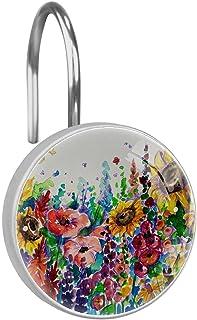 Rideau de Douche Crochets Anneaux – Bain Accessoires de Salle de Bain Lot de 12 pcs,Fleur coloré
