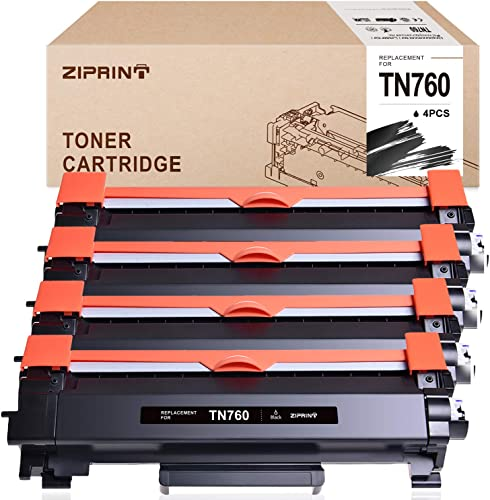 discount ZIPRINT Compatible Toner Cartridge Replacement for Brother TN760 TN 760 TN730 for HL-L2350DW sale MFC-L2710DW 2021 DCP-L2550DW MFC-L2750DW HL-L2395DW HL-L2370DW HL-L2390DW, 4-Pack online
