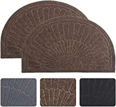 Half Round Door Mat Entrance Rug Floor Mats Set of 2, Waterproof Floor Mat Shoes Scraper Doormat, 18''x30'' Patio Rug Dirt Debris Mud Trapper Out Door Mat Low Profile Washable Carpet (Coffee-2 Pack)