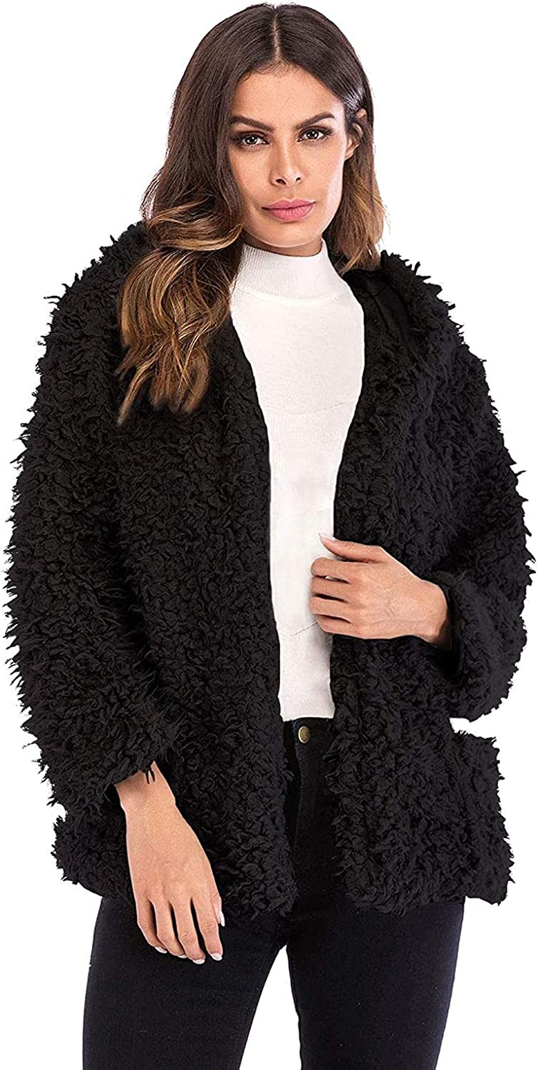 Women's Open Front Hooded Faux Fur Jacket with Pocket