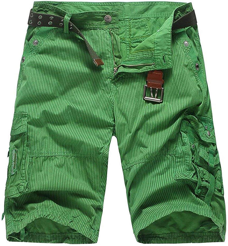 0c027be90 Pit4tk Men's Summer Striped Multi-Pocket Knee Length Cargo Cargo Cargo  Shorts aba00b