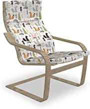 Ambesonne Doodle Poäng Armchair Slipcover, Squirrel Trees Log Chestnut Pine Forest Woodland Branches Leaves Herbs Cartoon, Chair Cushion Replacement with Zipper and Hook & Loop, Multicolor
