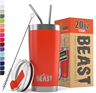 BEAST 20 oz Red Tumbler Stainless Steel - Insulated Coffee Cup with Lid, 2 Straws, Brush & Gift Box by Greens Steel (20oz, Ladybug Red)