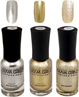 Glam Girlz Metallic & Glitter Nail Polish -Combo(10-12-93) Silver, Golden  (Pack of 3)