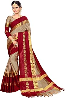 Shopcool Fashion Women's Cotton Silk Saree With Blouse Piece.