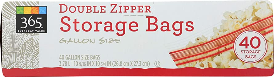 365 Everyday Value, Double Zipper Storage Bags, Gallon Size, 40 ct