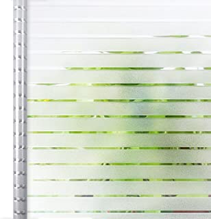Privacy Window Film White Stripe, Self Adhesive Frosted Window Film Removable Static Cling Decorative Glass Window Sticker...