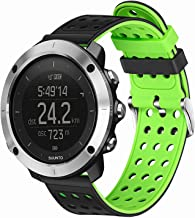 TRUMiRR for Sunnto Traverse/Traverse Alpha Bands, 24mm Double Color Silicone Watchband Rubber Band Stainless Steel Clasp Strap Bracelet for Suunto 9/Spartan Sport Wrist HR/Ambit 3 Vertical