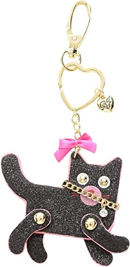 Black Glitter Moveable Cat Key Fob in a Betsey Johnson Pouch