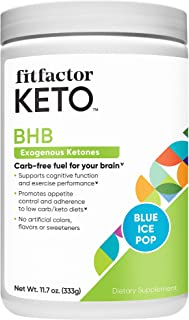 BHB Exogenous Ketones, CarbFree Fuel For Your Brain, Blue Ice Pop (11.7 oz. / 30 Servings) by fitfactor KETO