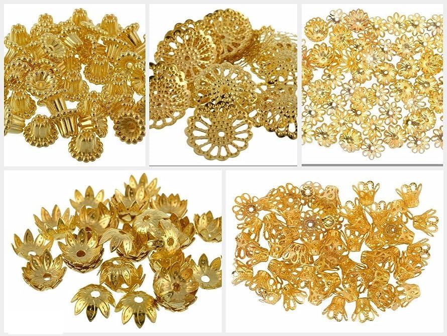 GOELX Golden Fancy Flower Bead Caps Combo For Silk Thread Jewellery Making