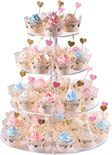 Cupcake Stand, 4-Tier Round Acrylic Cupcake Display Stand Dessert Tower Pastry Stand for Wedding Birthday Theme Party- 15.7 Inches (Transparent)