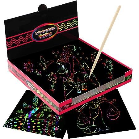 EXTSUD Papel de Rascar para Niños, 100 Hojas de Rascar Colores con Lápiz de Madera, Manualidades para Niños, Regalo Creativo para Niñas 6 7 8 9 Años