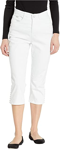 Statement Denim Multi Pearl Detail Suzanne Capris in White