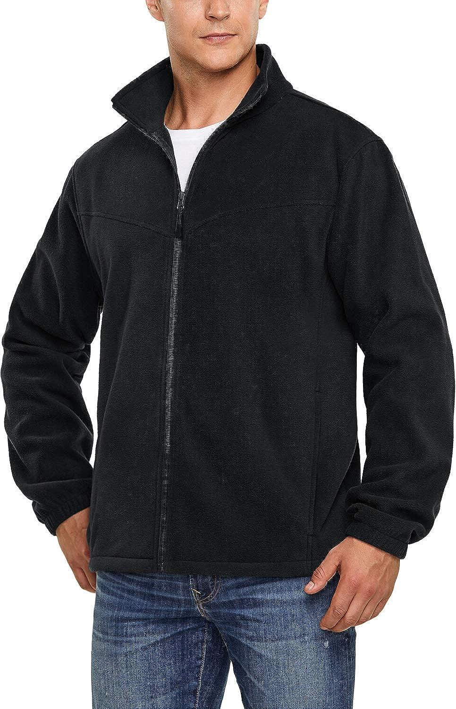 TSLA Men's Full Zip Polar Fleece Jacket, Long Sleeve Warm Casual Winter Jacket, Thermal Mountain Outdoor Jacket