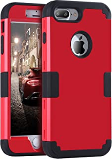 iPhone 8 Plus Case, iPhone 7 Plus Case, BENTOBEN Heavy Duty Slim Shockproof Drop Protection 3 in 1 Hybrid Hard PC Cover Soft Rubber Bumper Protective Phone Case for iPhone 8 Plus/7 Plus Black/Red